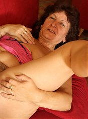 Horny granny enjoying a hard younger cock