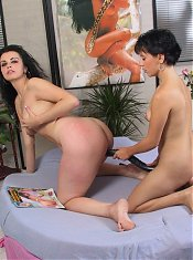 Two mature lesbians enjoying a big dildo