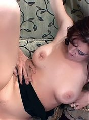 Pretty redhead wife Scarlet joins our stunt cock on the couch and takes a cock up her butt