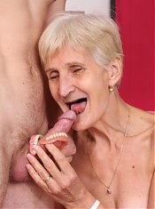 Irene removes her dentures to give a cock a nice sucking and takes it inside her hairy poon live