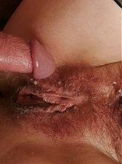 Beautiful lingerie clad grandma Eva exposes her hairy pussy while riding a cock live